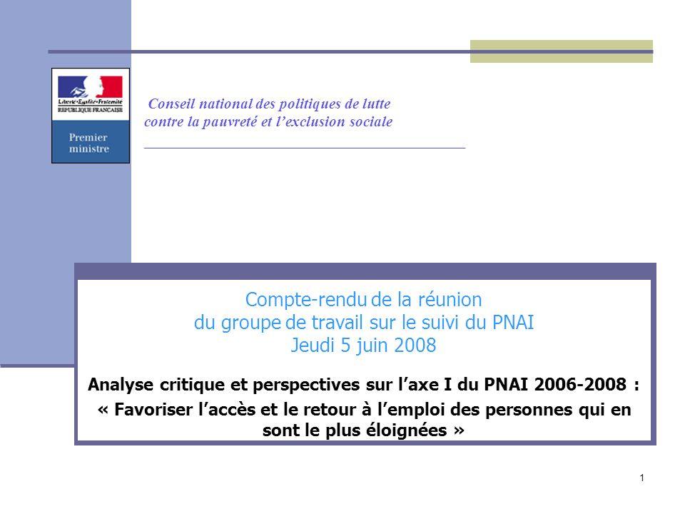 1 Conseil national des politiques de lutte contre la pauvreté et lexclusion sociale __________________________________________ Compte-rendu de la réunion du groupe de travail sur le suivi du PNAI Jeudi 5 juin 2008 Analyse critique et perspectives sur laxe I du PNAI 2006-2008 : « Favoriser laccès et le retour à lemploi des personnes qui en sont le plus éloignées »