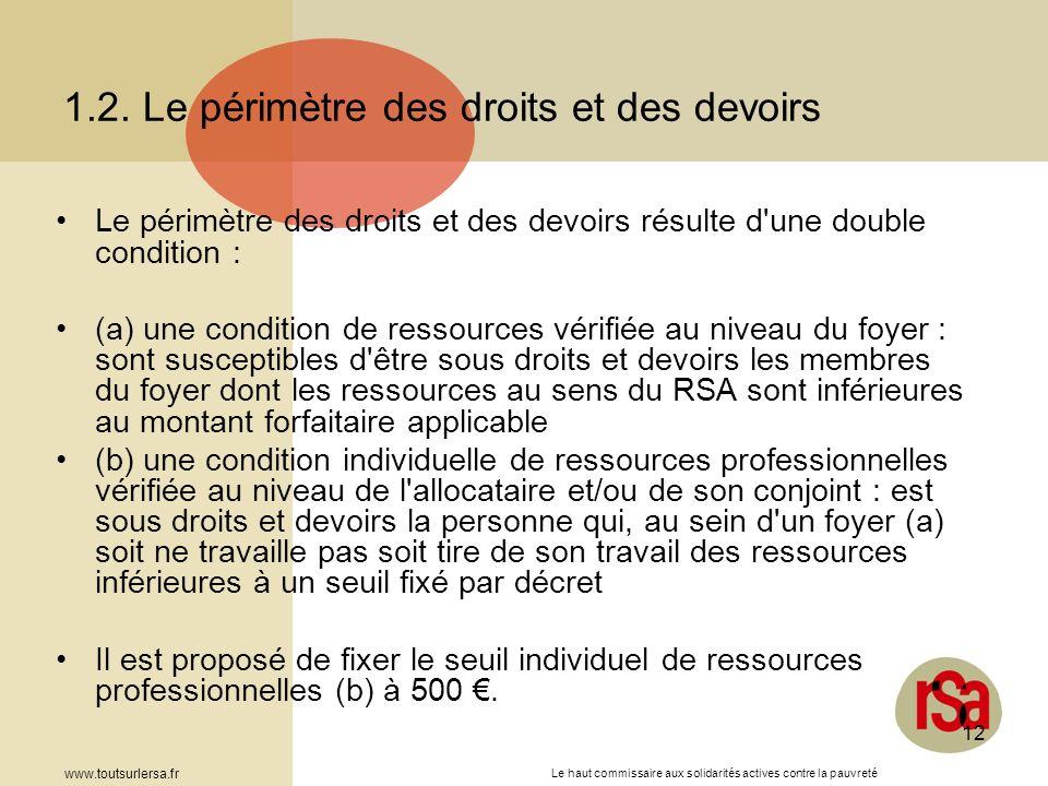 Le haut commissaire aux solidarités actives contre la pauvreté www.toutsurlersa.fr 12 1.2. Le périmètre des droits et des devoirs Le périmètre des dro