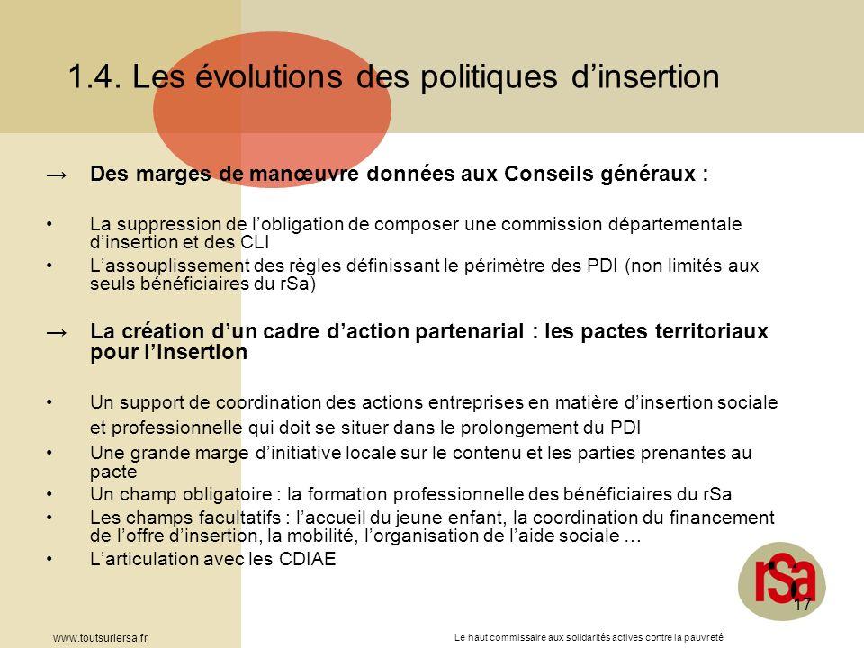 Le haut commissaire aux solidarités actives contre la pauvreté www.toutsurlersa.fr 17 1.4. Les évolutions des politiques dinsertion Des marges de manœ