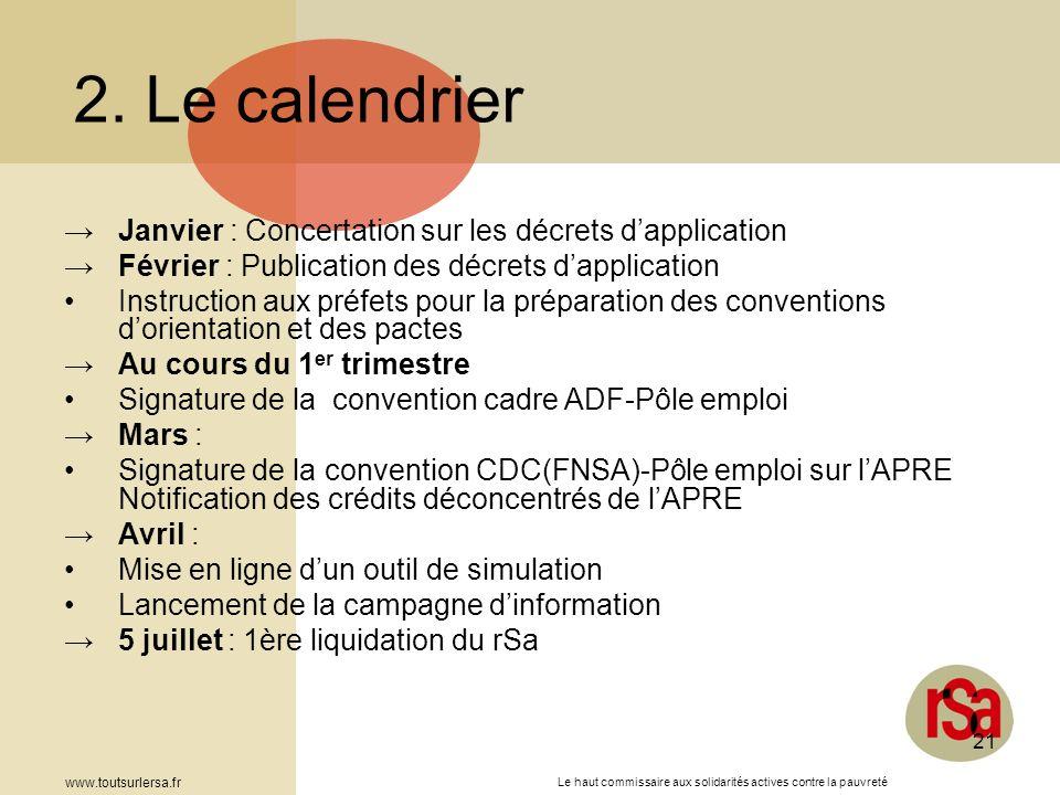 Le haut commissaire aux solidarités actives contre la pauvreté www.toutsurlersa.fr 21 Janvier : Concertation sur les décrets dapplication Février : Pu