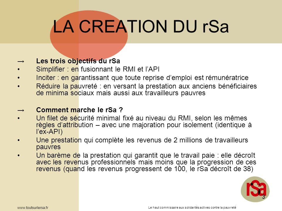 Le haut commissaire aux solidarités actives contre la pauvreté www.toutsurlersa.fr 3 LA CREATION DU rSa Les trois objectifs du rSa Simplifier : en fus