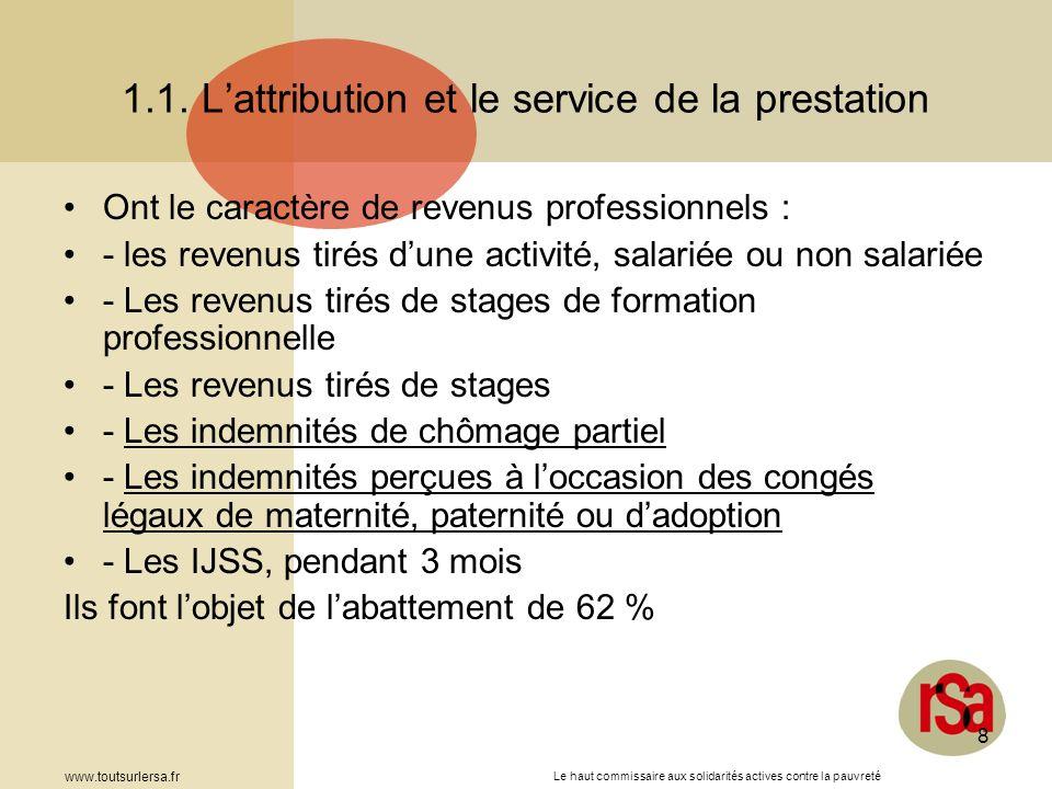 Le haut commissaire aux solidarités actives contre la pauvreté www.toutsurlersa.fr 8 1.1. Lattribution et le service de la prestation Ont le caractère