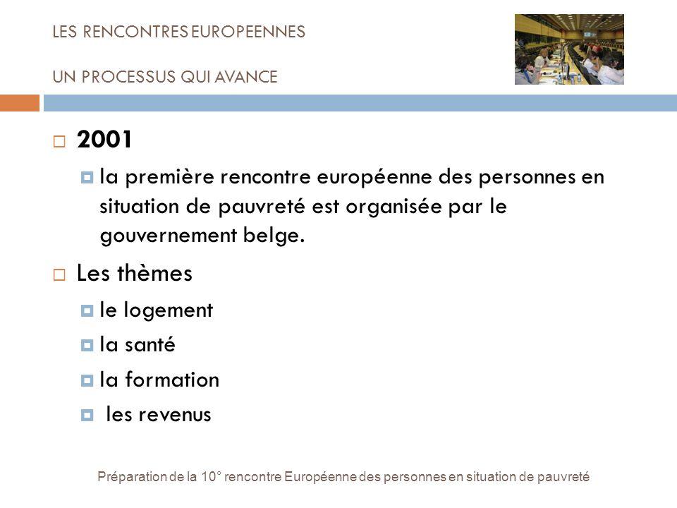 LES RENCONTRES EUROPEENNES UN PROCESSUS QUI AVANCE Préparation de la 10° rencontre Européenne des personnes en situation de pauvreté 2001 la première rencontre européenne des personnes en situation de pauvreté est organisée par le gouvernement belge.