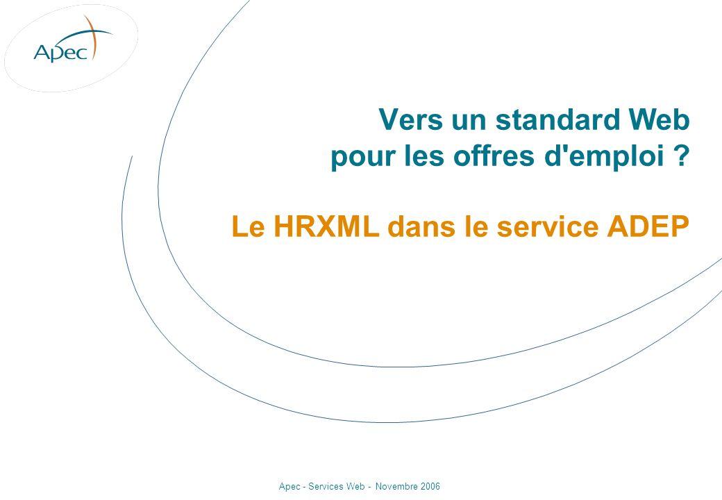 Apec - Services Web - Novembre 2006 Vers un standard Web pour les offres d'emploi ? Le HRXML dans le service ADEP