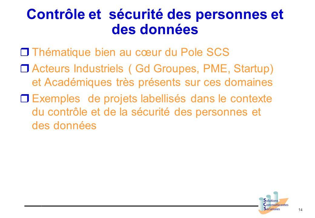 14 Contrôle et sécurité des personnes et des données Thématique bien au cœur du Pole SCS Acteurs Industriels ( Gd Groupes, PME, Startup) et Académique