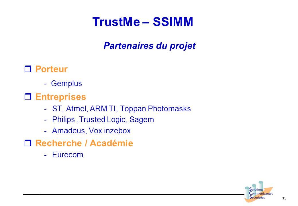 15 Partenaires du projet Porteur - Gemplus Entreprises -ST, Atmel, ARM TI, Toppan Photomasks -Philips,Trusted Logic, Sagem -Amadeus, Vox inzebox Reche