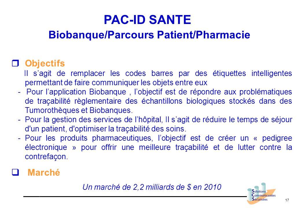17 PAC-ID SANTE Biobanque/Parcours Patient/Pharmacie Objectifs Il sagit de remplacer les codes barres par des étiquettes intelligentes permettant de f