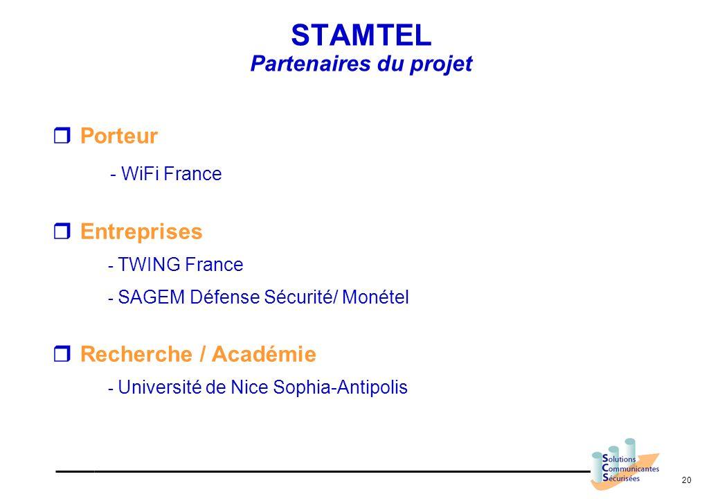 20 STAMTEL Partenaires du projet Porteur - WiFi France Entreprises - TWING France - SAGEM Défense Sécurité/ Monétel Recherche / Académie - Université