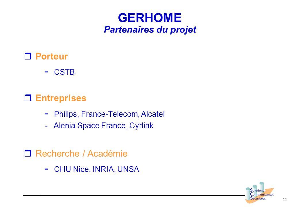 22 GERHOME Partenaires du projet Porteur - CSTB Entreprises - Philips, France-Telecom, Alcatel - Alenia Space France, Cyrlink Recherche / Académie - C