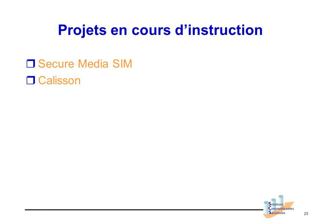 25 Projets en cours dinstruction Secure Media SIM Calisson