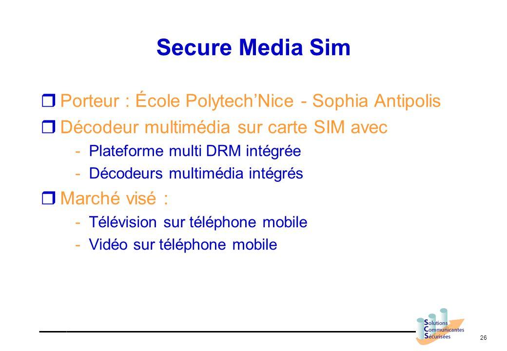 26 Secure Media Sim Porteur : École PolytechNice - Sophia Antipolis Décodeur multimédia sur carte SIM avec -Plateforme multi DRM intégrée -Décodeurs m