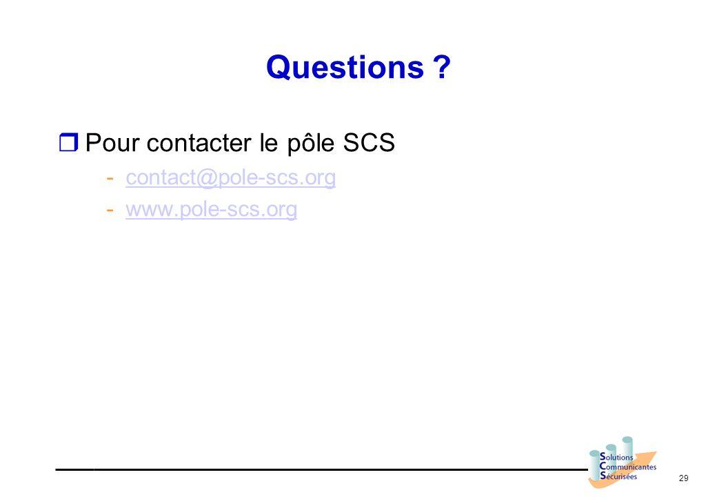 29 Questions ? Pour contacter le pôle SCS -contact@pole-scs.orgcontact@pole-scs.org -www.pole-scs.orgwww.pole-scs.org
