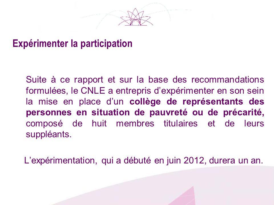 Expérimenter la participation Suite à ce rapport et sur la base des recommandations formulées, le CNLE a entrepris dexpérimenter en son sein la mise e
