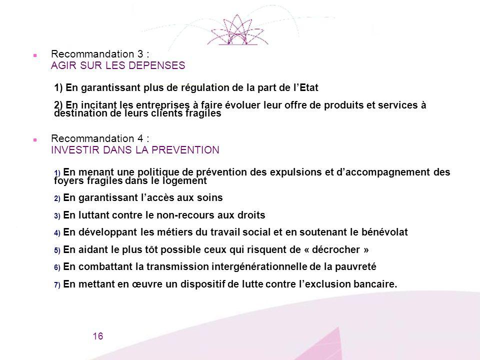 n Recommandation 3 : AGIR SUR LES DEPENSES 1) En garantissant plus de régulation de la part de lEtat 2) En incitant les entreprises à faire évoluer le