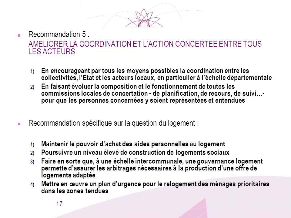 n Recommandation 5 : AMELIORER LA COORDINATION ET LACTION CONCERTEE ENTRE TOUS LES ACTEURS 1) En encourageant par tous les moyens possibles la coordin