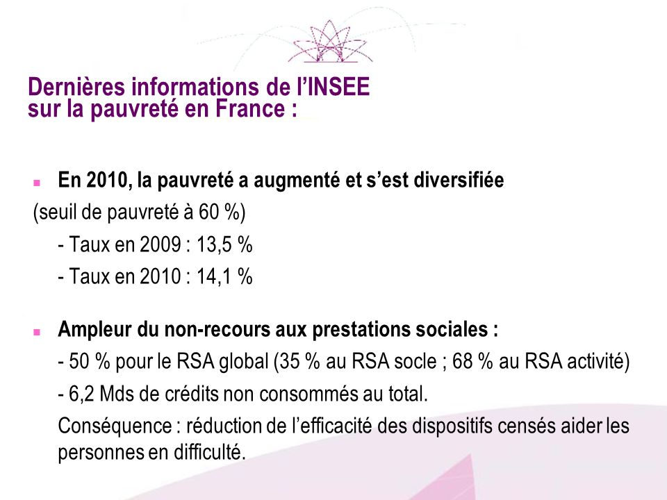 Dernières informations de lINSEE sur la pauvreté en France : n En 2010, la pauvreté a augmenté et sest diversifiée (seuil de pauvreté à 60 %) - Taux e