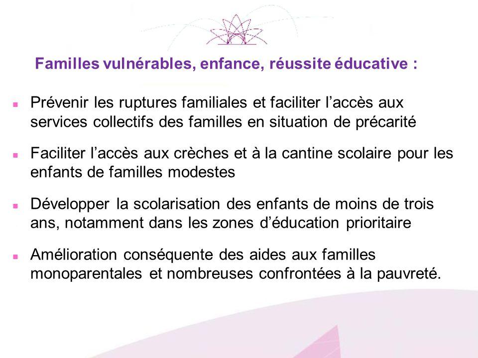 Familles vulnérables, enfance, réussite éducative : n Prévenir les ruptures familiales et faciliter laccès aux services collectifs des familles en sit
