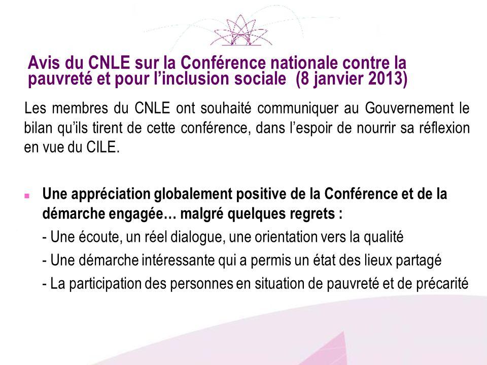 Avis du CNLE sur la Conférence nationale contre la pauvreté et pour linclusion sociale (8 janvier 2013) Les membres du CNLE ont souhaité communiquer a