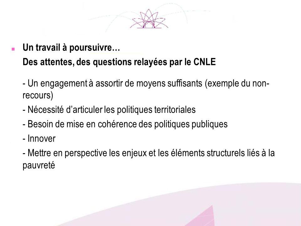 n Un travail à poursuivre… Des attentes, des questions relayées par le CNLE - Un engagement à assortir de moyens suffisants (exemple du non- recours)