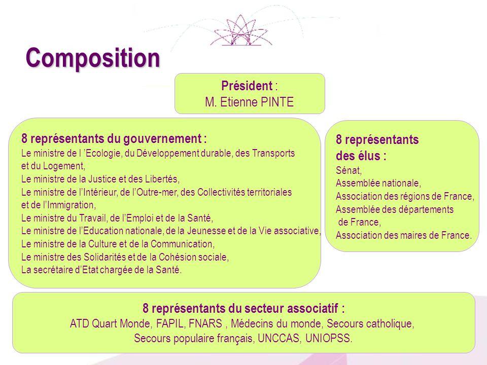 Président : M. Etienne PINTE 8 représentants des élus : Sénat, Assemblée nationale, Association des régions de France, Assemblée des départements de F