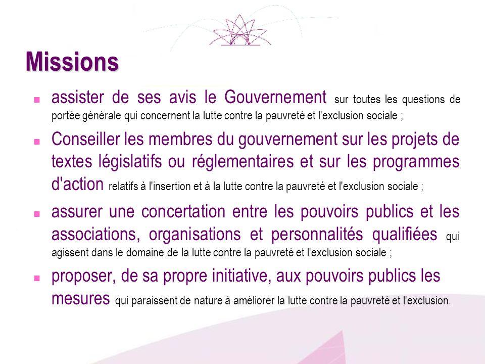 Missions assister de ses avis le Gouvernement sur toutes les questions de portée générale qui concernent la lutte contre la pauvreté et l'exclusion so
