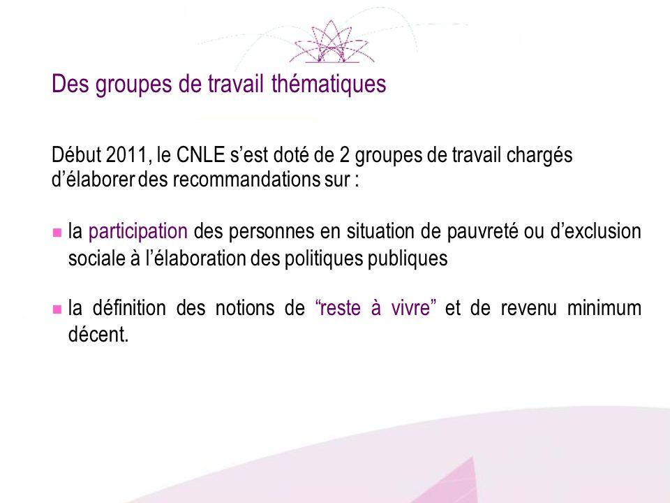 Des groupes de travail thématiques Début 2011, le CNLE sest doté de 2 groupes de travail chargés délaborer des recommandations sur : la participation