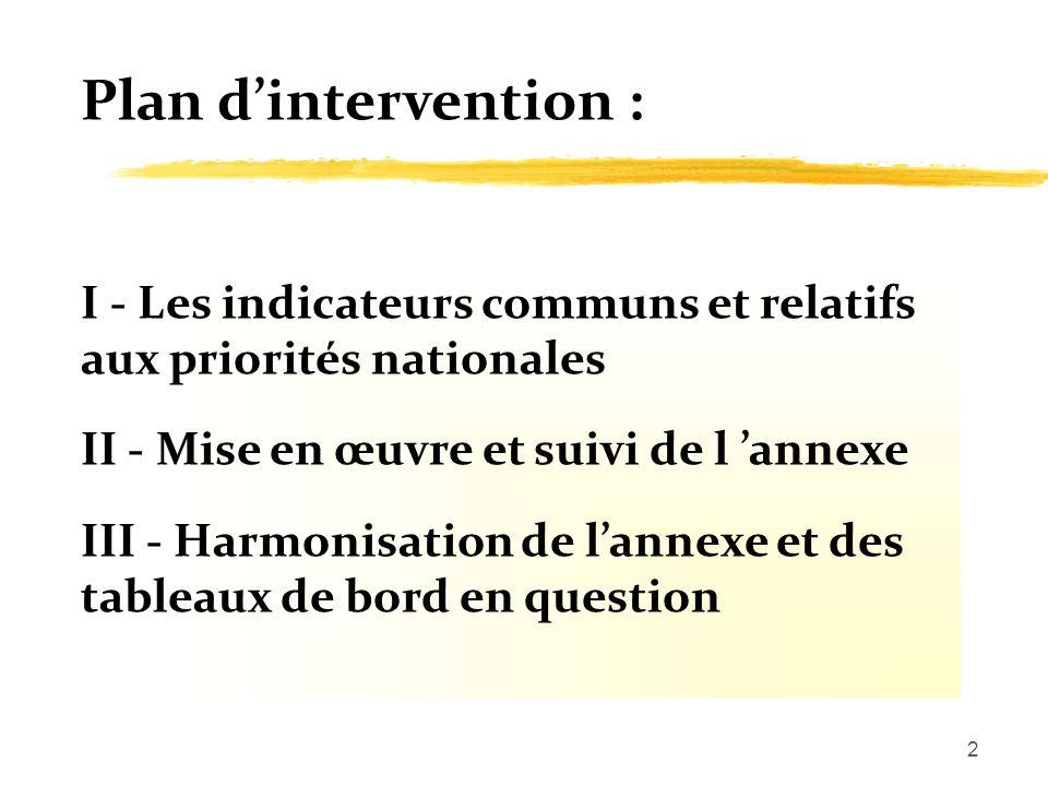 2 Plan dintervention : I - Les indicateurs communs et relatifs aux priorités nationales II - Mise en œuvre et suivi de l annexe III - Harmonisation de lannexe et des tableaux de bord en question