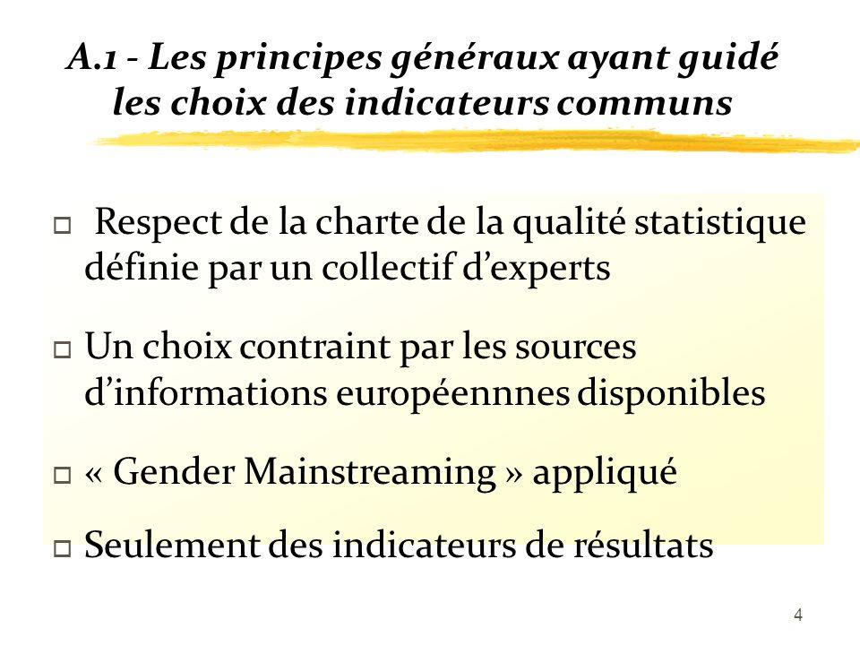4 A.1 - Les principes généraux ayant guidé les choix des indicateurs communs o Respect de la charte de la qualité statistique définie par un collectif dexperts o Un choix contraint par les sources dinformations européennnes disponibles o « Gender Mainstreaming » appliqué o Seulement des indicateurs de résultats