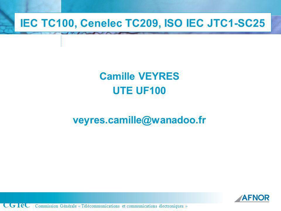 Référence IEC TC100, Cenelec TC209, ISO IEC JTC1-SC25 Camille VEYRES UTE UF100 veyres.camille@wanadoo.fr CGTeC Commission Générale « Télécommunication