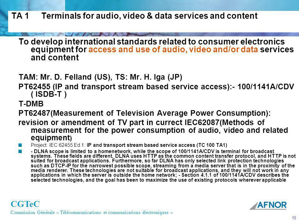 CGTeC Commission Générale « Télécommunications et communications électroniques » 10 TA 1Terminals for audio, video & data services and content To deve