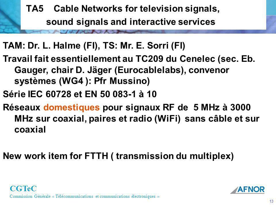 CGTeC Commission Générale « Télécommunications et communications électroniques » 13 TA5 Cable Networks for television signals, sound signals and inter