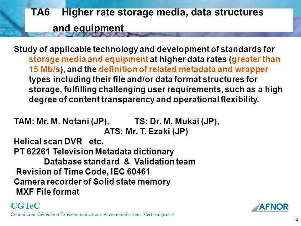 CGTeC Commission Générale « Télécommunications et communications électroniques » 14 TA6 Higher rate storage media, data structures and equipment Study