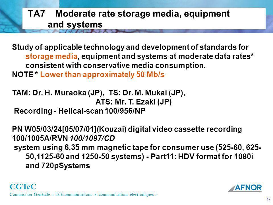CGTeC Commission Générale « Télécommunications et communications électroniques » 17 TA7 Moderate rate storage media, equipment and systems Study of ap