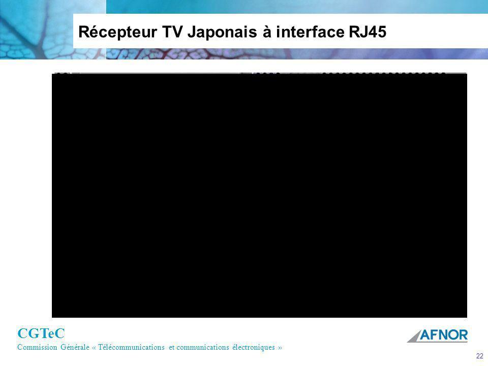 CGTeC Commission Générale « Télécommunications et communications électroniques » 22 Récepteur TV Japonais à interface RJ45