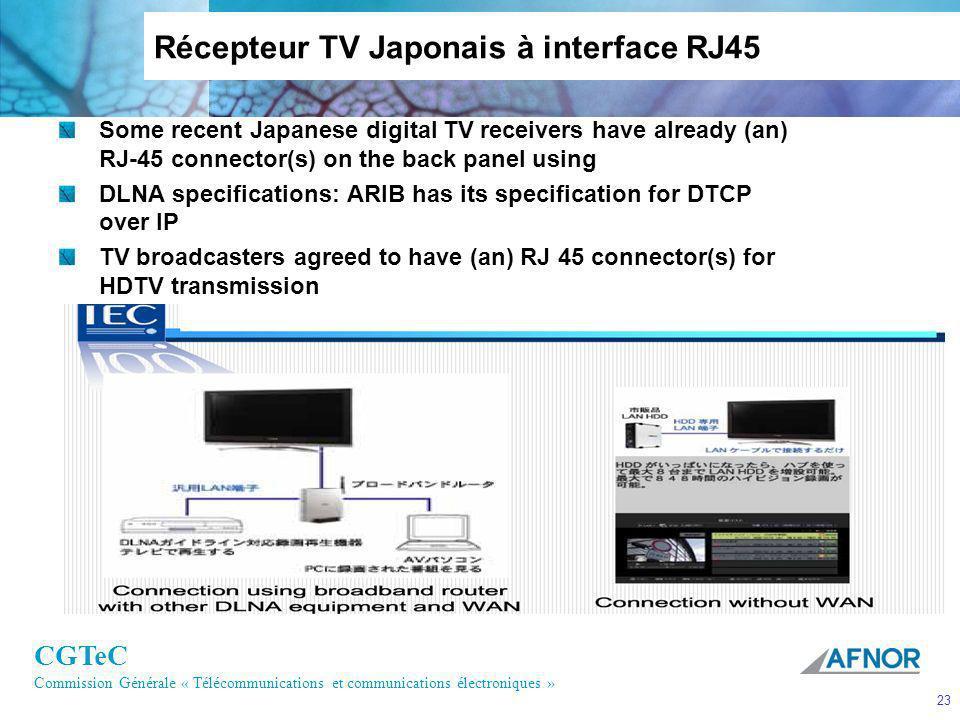 CGTeC Commission Générale « Télécommunications et communications électroniques » 23 Some recent Japanese digital TV receivers have already (an) RJ-45