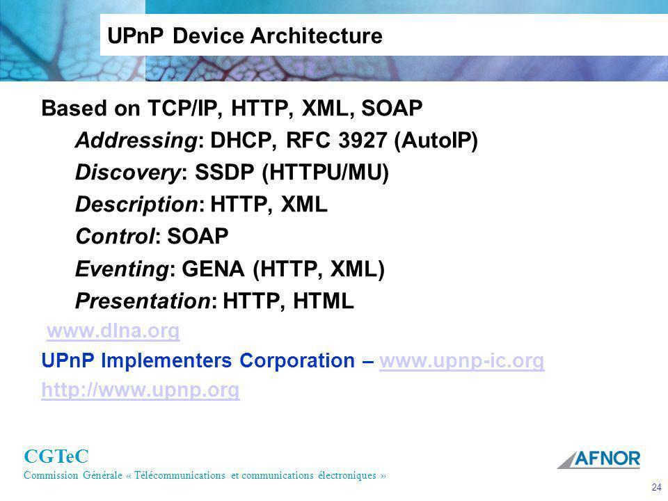 CGTeC Commission Générale « Télécommunications et communications électroniques » 24 UPnP Device Architecture Based on TCP/IP, HTTP, XML, SOAP Addressi