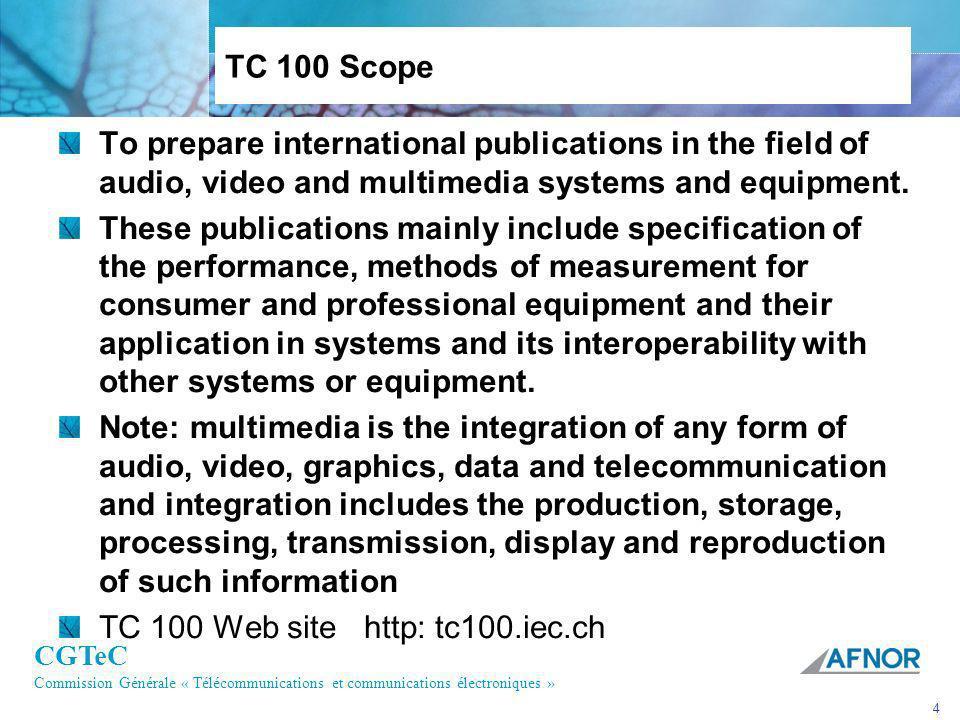 CGTeC Commission Générale « Télécommunications et communications électroniques » 5 IEC 61016 (D1) IEC 61189 (D2) IEC 62071 (D7) IEC 62141 (D16) IEC 62289 (D10) IEC 62336 (D11) IEC 62330 (HD-D5) IEC 62447 (D12) IEC 62261 (TV Metadata) IEC 61909 (MD) IEC 60908 (CD) IEC 61606 series (Audio measurement) IEC 61606-4 (PC audio) IEC 61966 series (Color management) IEC 61834 series (DV format) IEC 62318, 62328 (Multimedia Home server) IEC 62227 (DRM) IEC 61603 (IR) IEC 60107 series (TV) IEC 62229 IEC 62448 (e-Book) IEC 60268 series (Audio System) IEC 60268-5 (Loudspeaker) IEC 62360 (ISDB) IEC 62216 (DVB) IEC 62002 (DVB-H) IEC 60728 series (Cable system) IEC 60315 series (Radio) IEC 62389 (DVD player measurement) IEC 60958, 61937 (Digital Audio I/F) IEC 61883 (Digital AV I/F) AV & Multimedia Systems and Equipment Professional Consumer