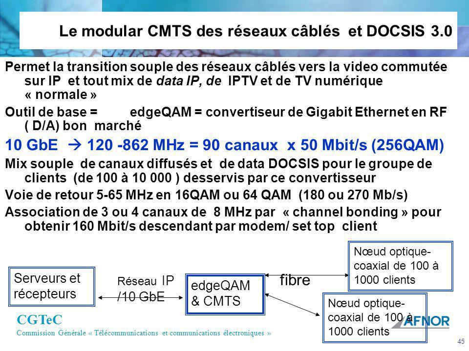 CGTeC Commission Générale « Télécommunications et communications électroniques » 45 Le modular CMTS des réseaux câblés et DOCSIS 3.0 Permet la transit