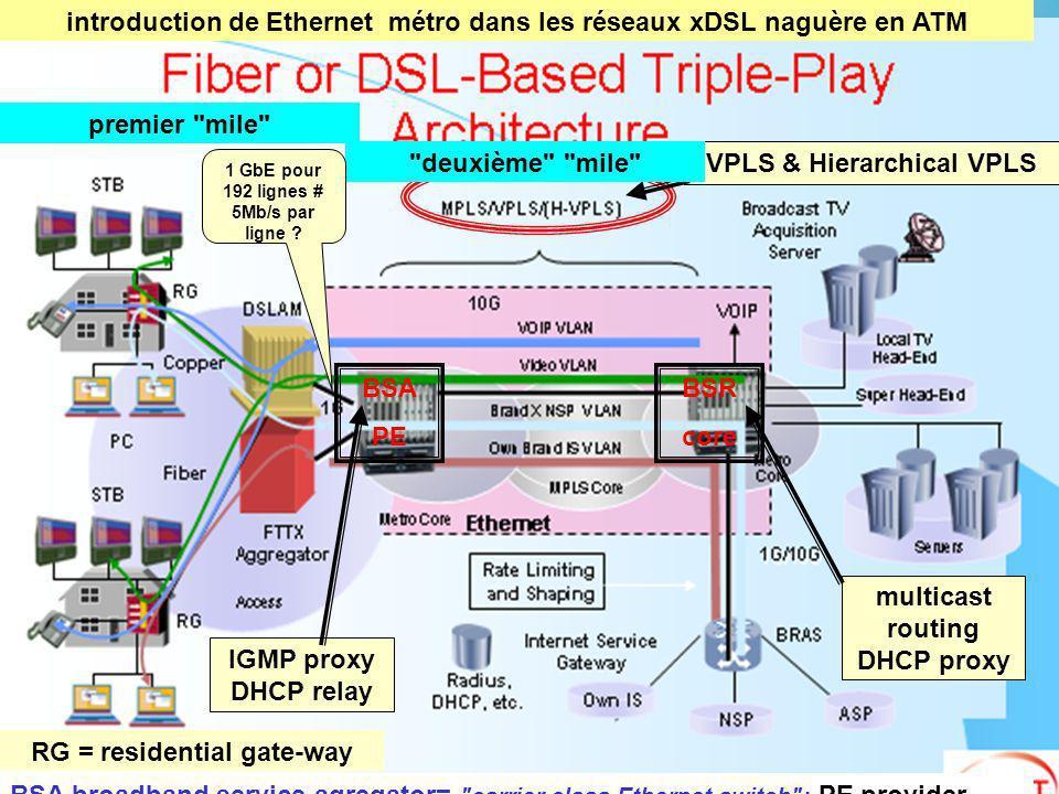 CGTeC Commission Générale « Télécommunications et communications électroniques » 48 VPLS & Hierarchical VPLS RG = residential gate-way BSA PE BSR core