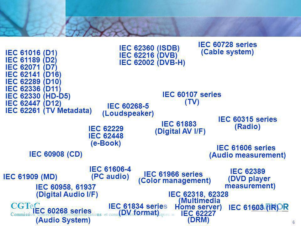 CGTeC Commission Générale « Télécommunications et communications électroniques » 6 IEC 61016 (D1) IEC 61189 (D2) IEC 62071 (D7) IEC 62141 (D16) IEC 62