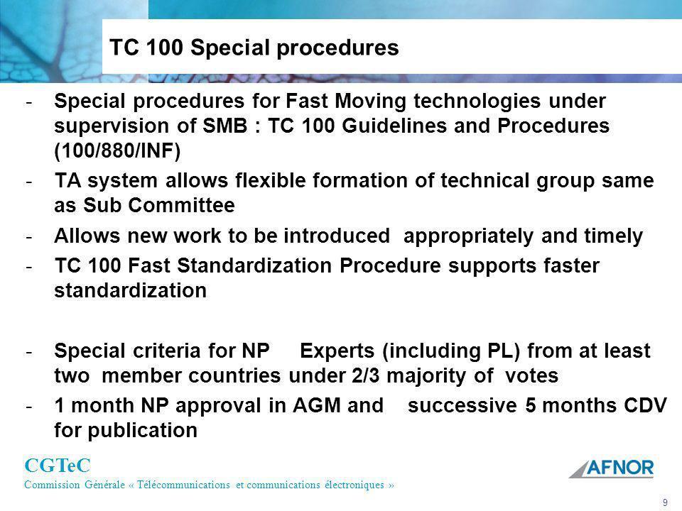 CGTeC Commission Générale « Télécommunications et communications électroniques » 9 TC 100 Special procedures -Special procedures for Fast Moving techn