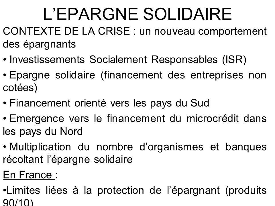 LEPARGNE SOLIDAIRE CONTEXTE DE LA CRISE : un nouveau comportement des épargnants Investissements Socialement Responsables (ISR) Epargne solidaire (fin