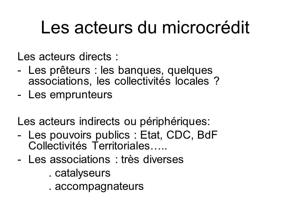 Les acteurs du microcrédit Les acteurs directs : -Les prêteurs : les banques, quelques associations, les collectivités locales ? -Les emprunteurs Les