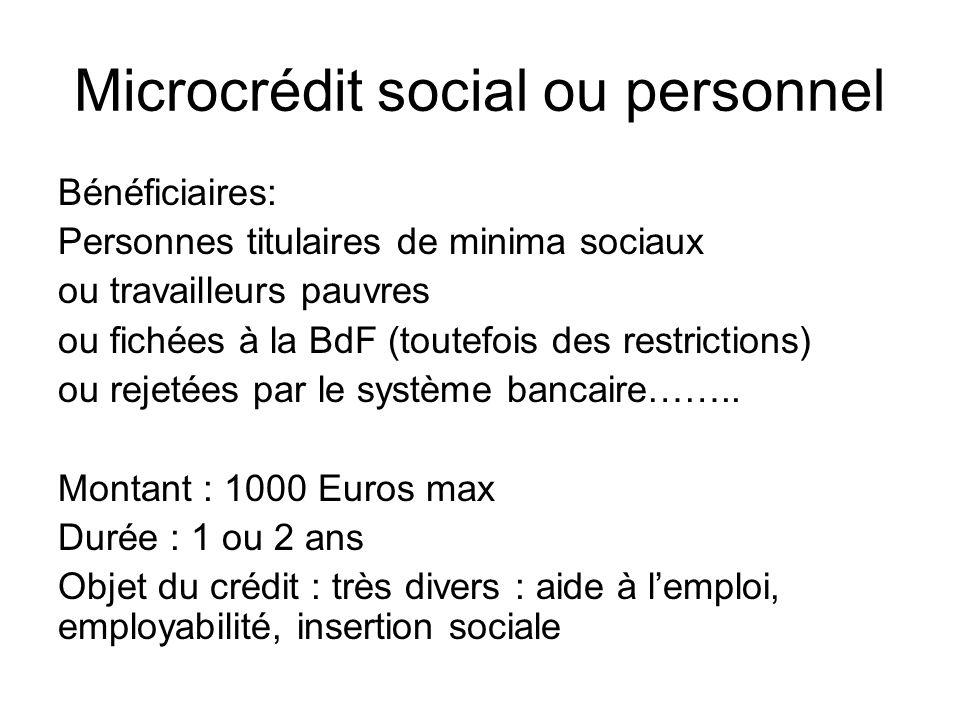 Microcrédit social ou personnel Bénéficiaires: Personnes titulaires de minima sociaux ou travailleurs pauvres ou fichées à la BdF (toutefois des restr