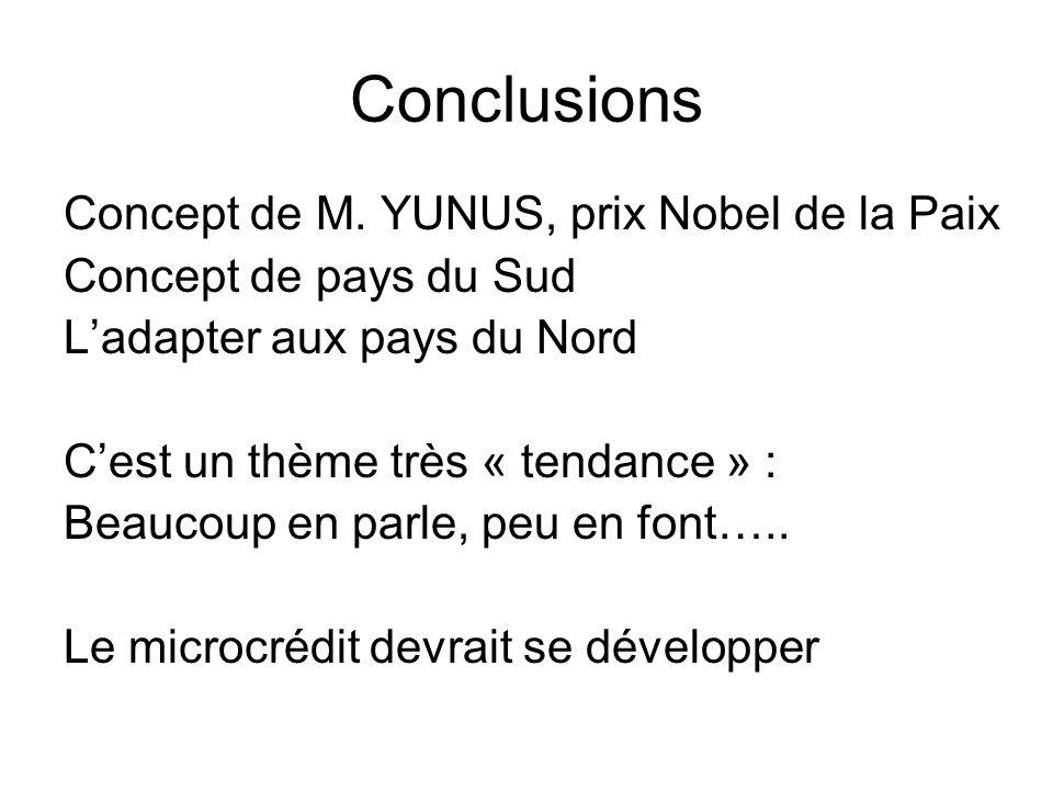 Conclusions Concept de M. YUNUS, prix Nobel de la Paix Concept de pays du Sud Ladapter aux pays du Nord Cest un thème très « tendance » : Beaucoup en