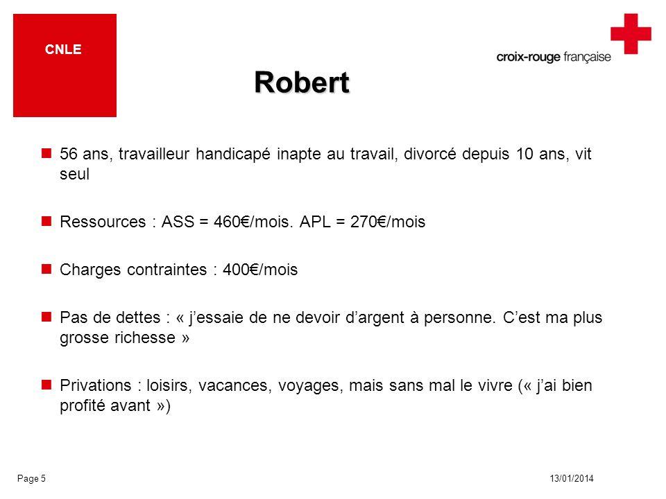 13/01/2014 CNLE Robert 56 ans, travailleur handicapé inapte au travail, divorcé depuis 10 ans, vit seul Ressources : ASS = 460/mois. APL = 270/mois Ch