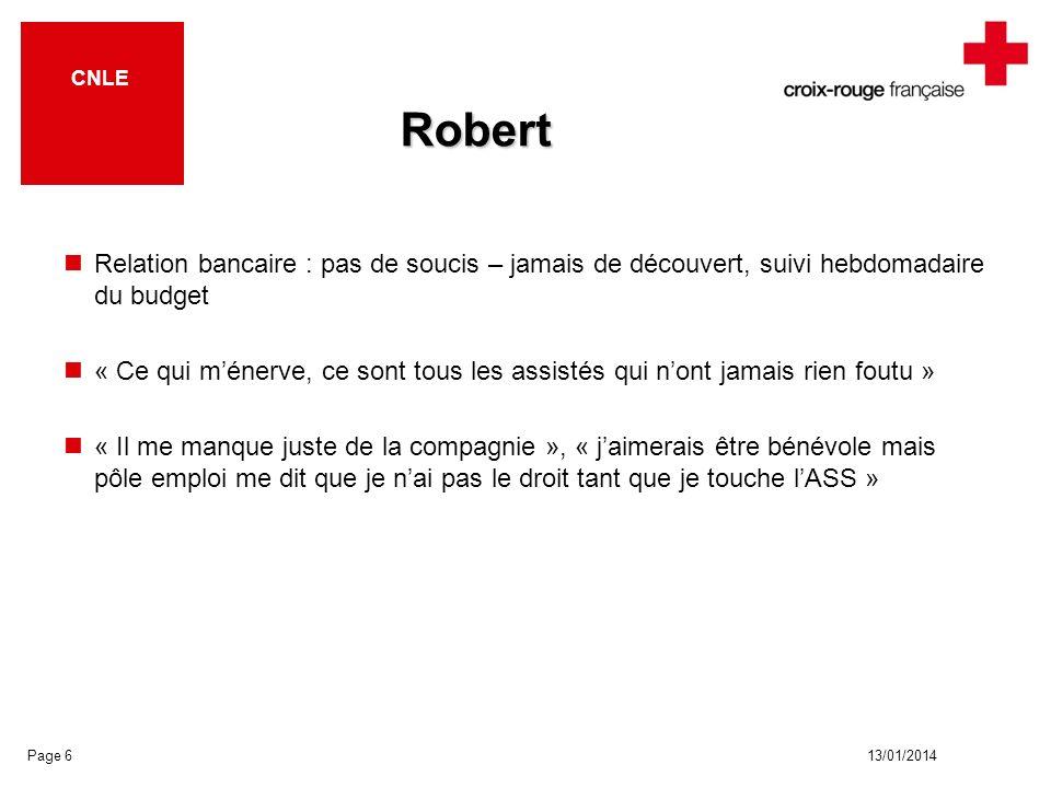 13/01/2014 CNLE Robert Relation bancaire : pas de soucis – jamais de découvert, suivi hebdomadaire du budget « Ce qui ménerve, ce sont tous les assist