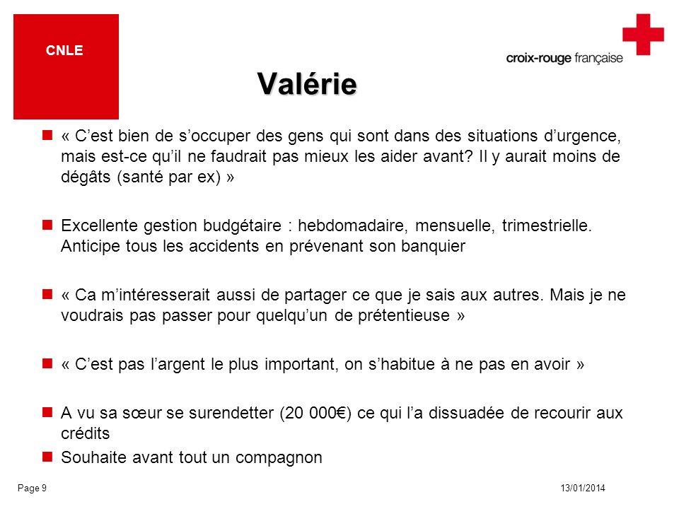 13/01/2014 CNLE Valérie « Cest bien de soccuper des gens qui sont dans des situations durgence, mais est-ce quil ne faudrait pas mieux les aider avant.