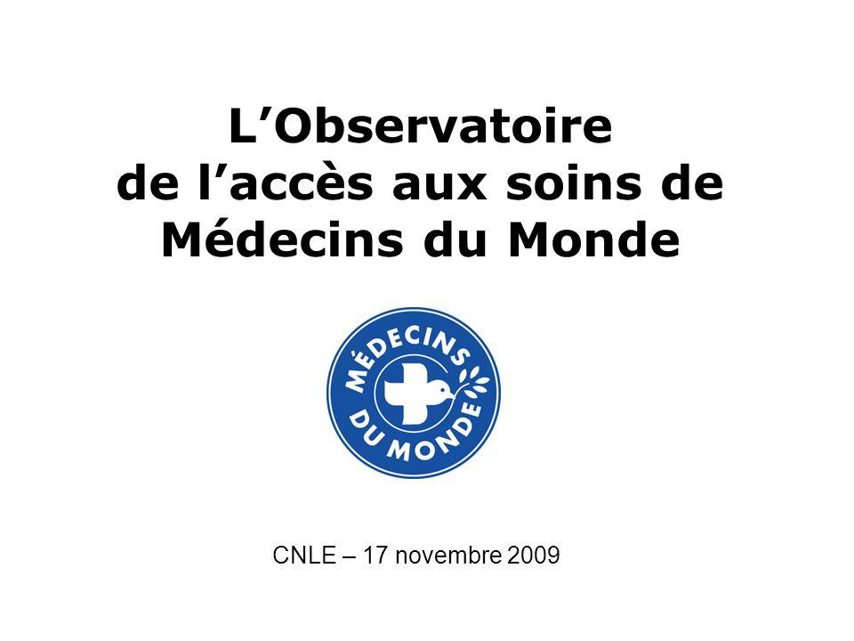 LObservatoire de laccès aux soins de Médecins du Monde CNLE – 17 novembre 2009