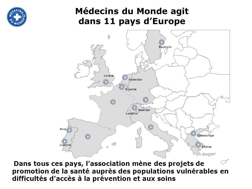 Dans tous ces pays, lassociation mène des projets de promotion de la santé auprès des populations vulnérables en difficultés daccès à la prévention et aux soins Médecins du Monde agit dans 11 pays dEurope
